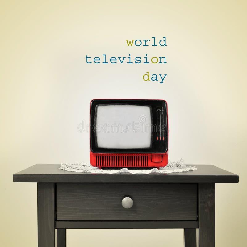 Altes Fernsehen und der Satzweltfernsehtag, mit a stockbild
