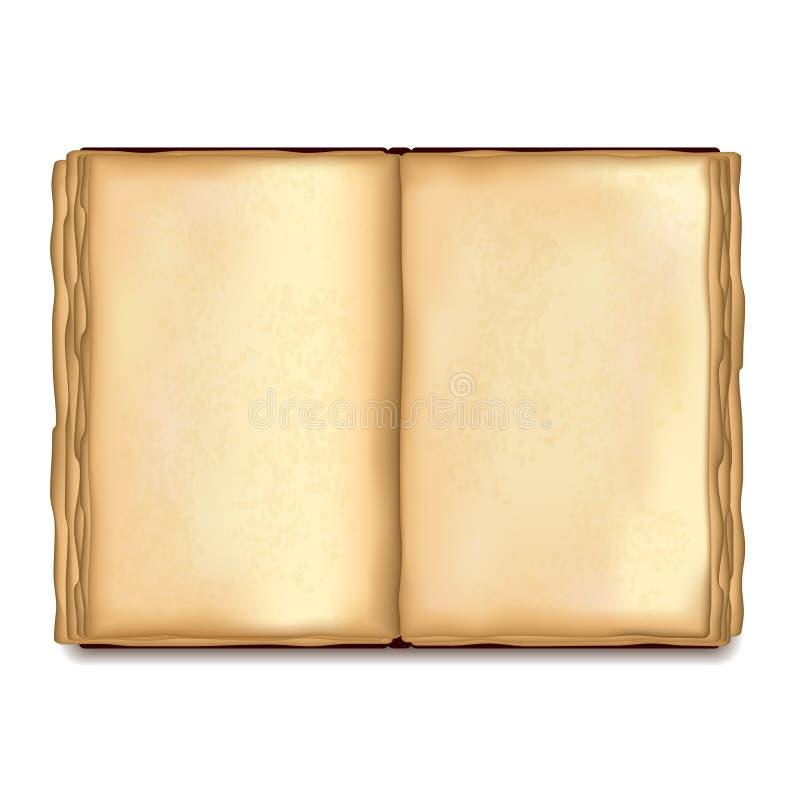 Altes geöffnetes Buch auf weißem Vektor vektor abbildung