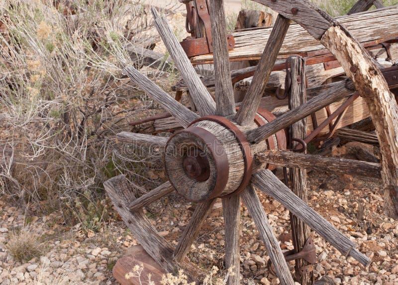Altes gebrochenes Lastwagenrad und Wüstenpflanzen stockfotografie