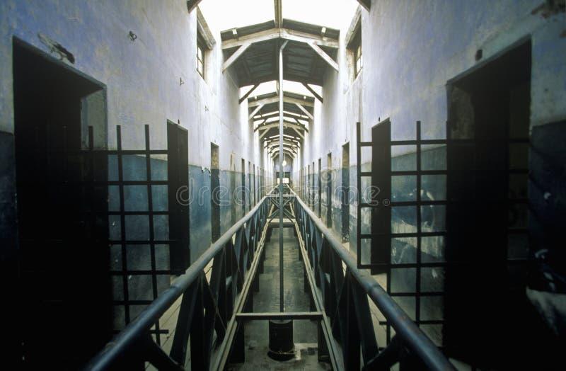 Altes Gefängnis wandelte in Museum in ländlichen Anden-Bergen, Tierra del Fuego National Park, Ushuaia, Argentinien um lizenzfreies stockfoto