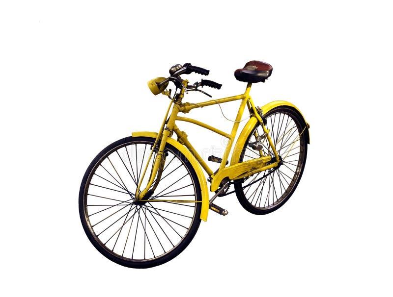 Altes gelbes Fahrrad stockbilder