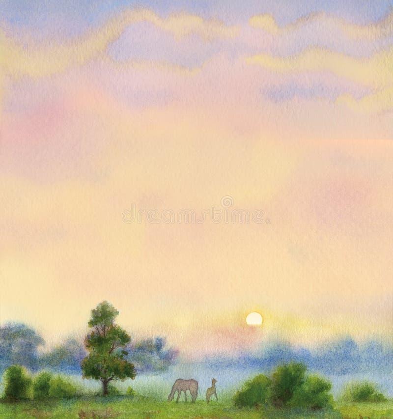 Altes gelbes Papier auf dunklem Hintergrund Sommermorgenlandschaft vektor abbildung