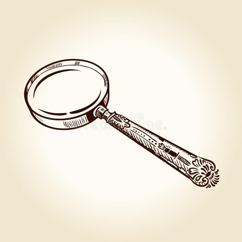 Altes gezeichnetes Vergrößerungsglas der Weinlese stock abbildung