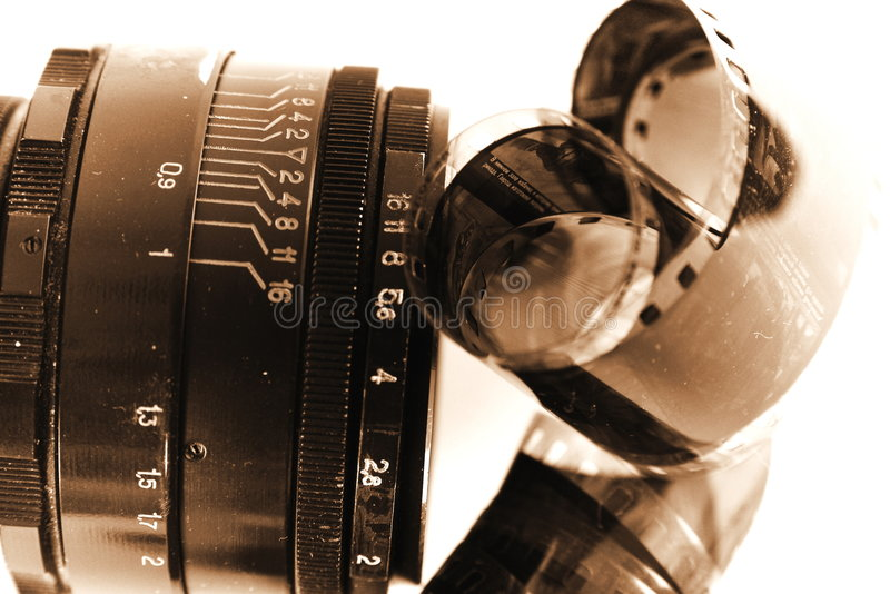 Altes Glas für Foto-Kamera lizenzfreies stockfoto