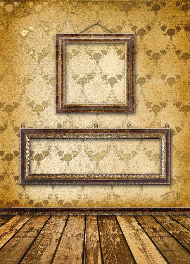 Altes Gold gestaltet viktorianische Art auf der Wand lizenzfreie abbildung