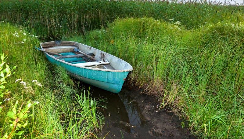 Altes grünes Plastikfischerboot am See im Gras stockbilder