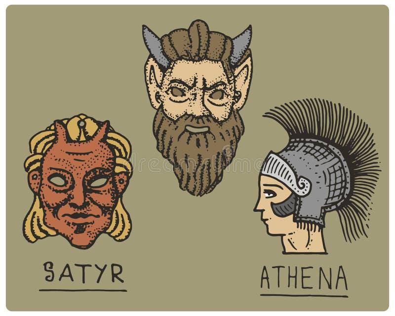 Altes Griechenland, antike Symbole, Athene-Profil und Satyrgesicht, gravierte Hand gezeichnet in Skizze oder Holzschnittart, alt vektor abbildung