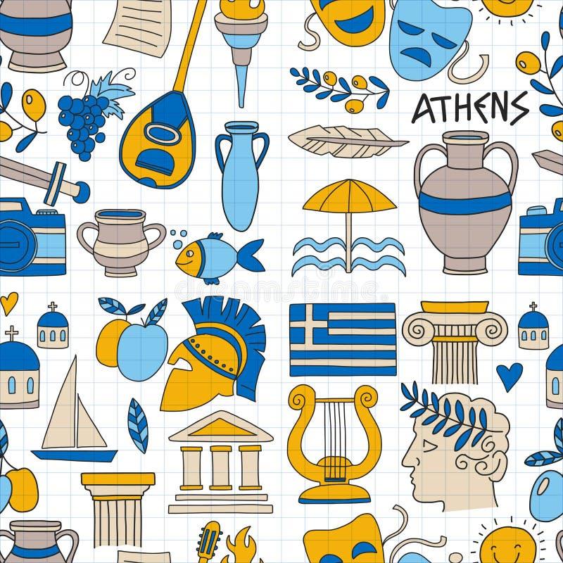 Altes Griechenland-Vektorelemente in der Gekritzelart reisen, Geschichte, Musik, Lebensmittel, Wein vektor abbildung