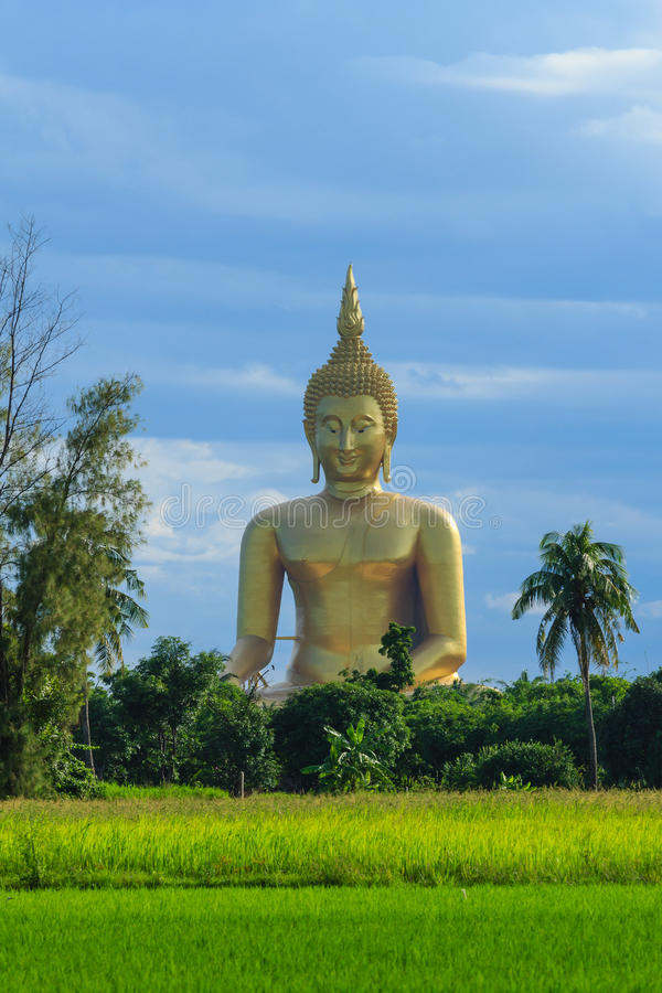 Altes großes Buddha-Bild auf dem Gebiet an Muang-Tempel, Ang Thon stockfotos