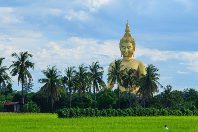 Altes großes Buddha-Bild auf dem Gebiet an Muang-Tempel, Ang Thon lizenzfreie stockfotos