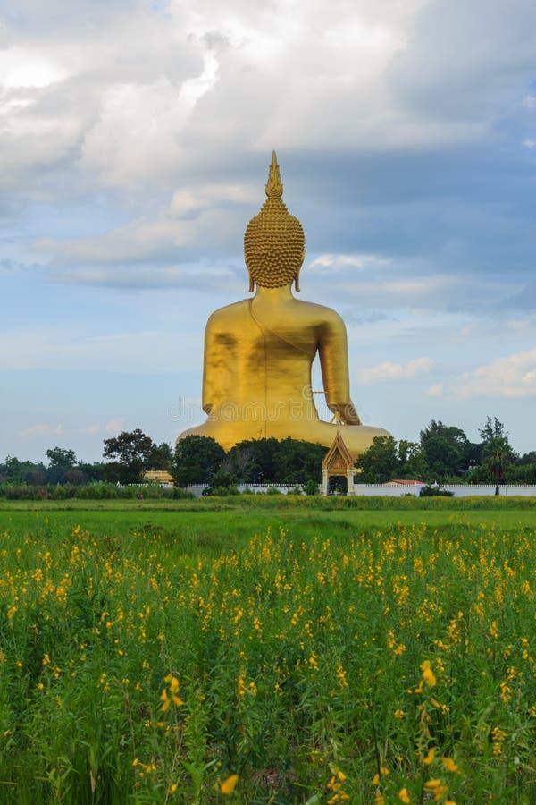 Altes großes Buddha-Bild auf dem Gebiet an Muang-Tempel, Ang Thon lizenzfreie stockfotografie