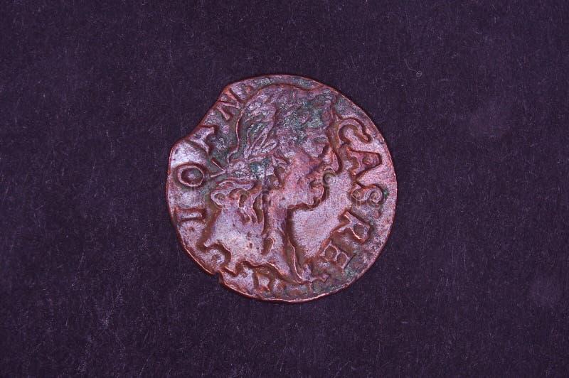 Altes Großherzogtum des Litauen-Münzenschillings auf dem schwarzen Hintergrund stockbild