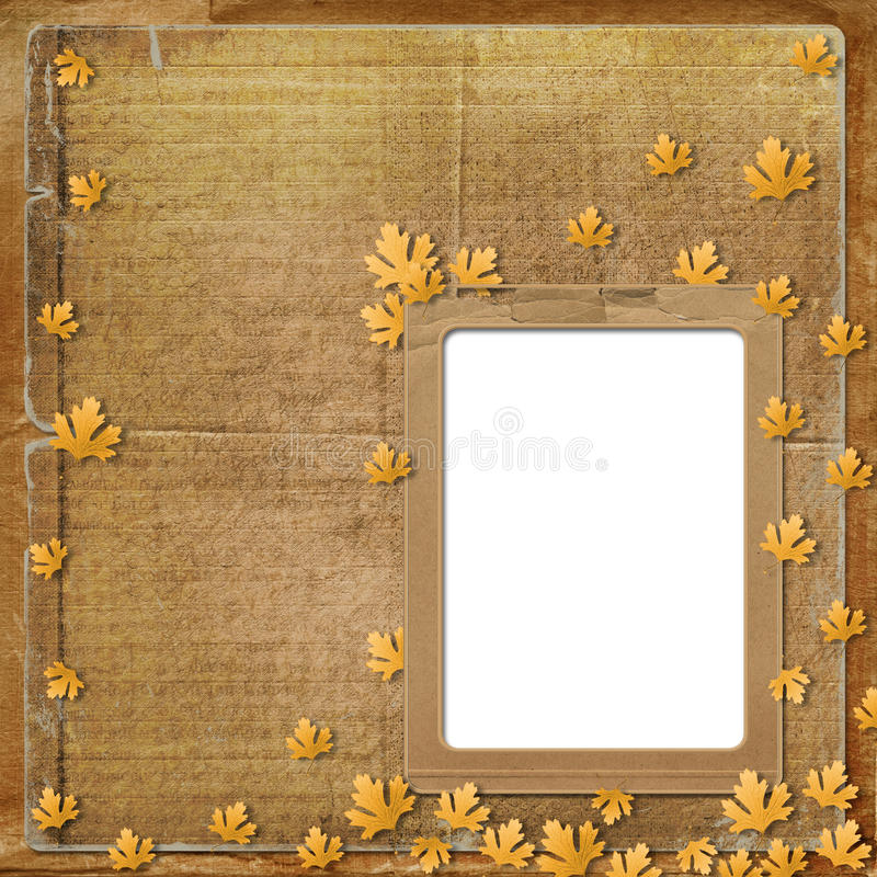 Altes grunge Feld mit Herbstblättern lizenzfreie abbildung