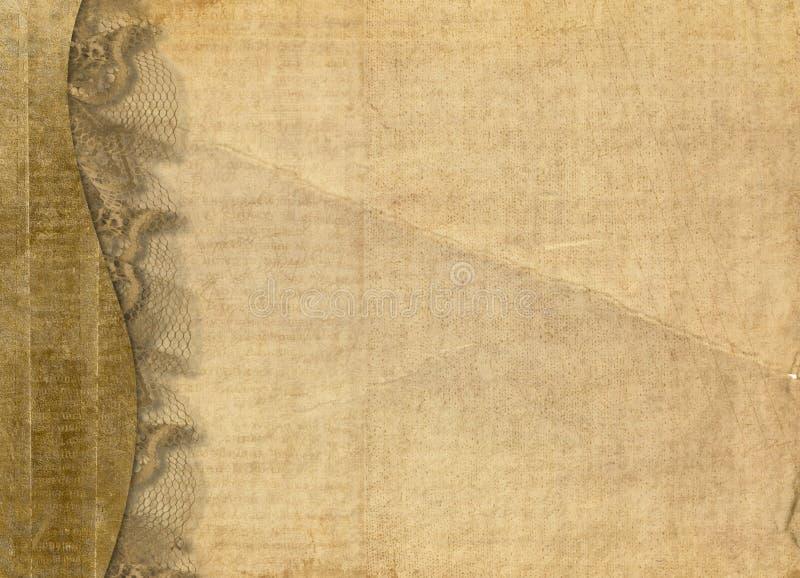 Altes grunge Papier mit Spitze lizenzfreie abbildung