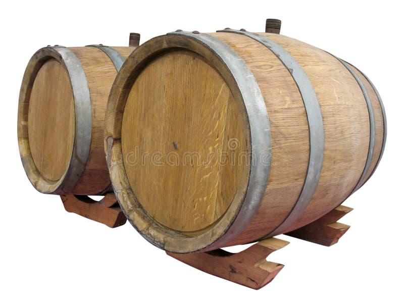 Altes hölzernes Faß der Weinlese getrennt über Weiß stockfoto