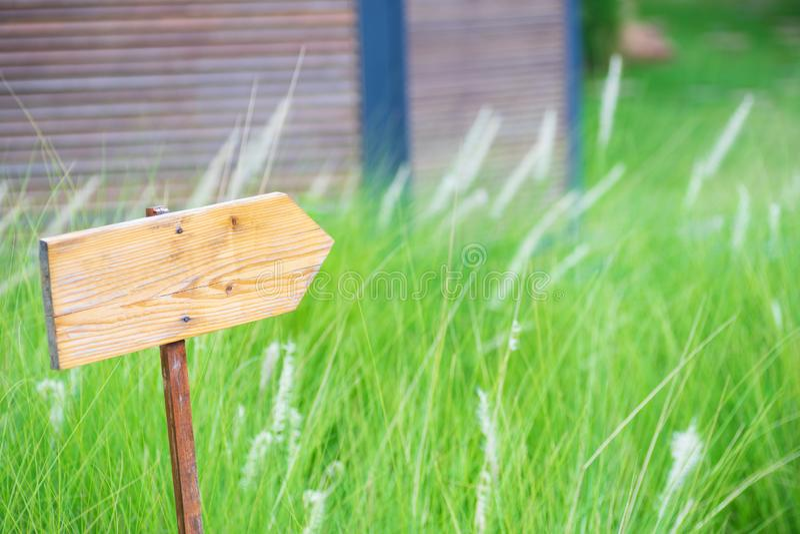 Altes hölzernes Richtungsschild des freien Raumes über Gras auf Naturhintergrund, leeres Kopienraumholz-Zeichenbrett draußen für  stockbilder