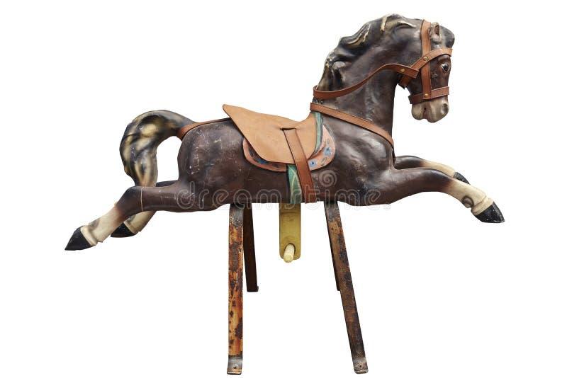Altes hölzernes und Weinlese Karussell-Pferd lizenzfreie stockfotos