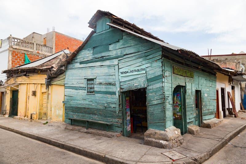 Altes Haus in Cartagena, Kolumbien lizenzfreie stockfotos