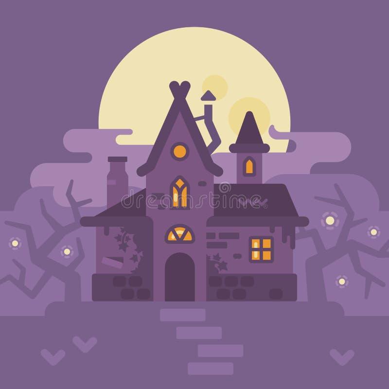 Altes Haus int der Sumpf Flache Illustration der Halloween-Hexenhütte vektor abbildung