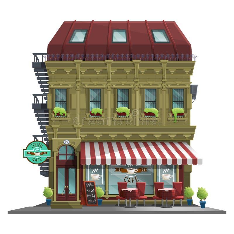 Altes Haus mit Retro- Café Altes abstraktes Gebäude und Fassade lokalisiert auf weißem Hintergrund stock abbildung