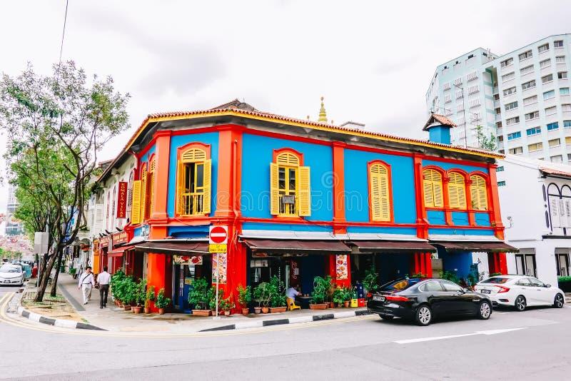 Altes Haus an wenigem Indien-Bezirk in Singapur Wenig Indien ist singapurische Nachbarschaft östlich des Singapur-Flusses stockbilder