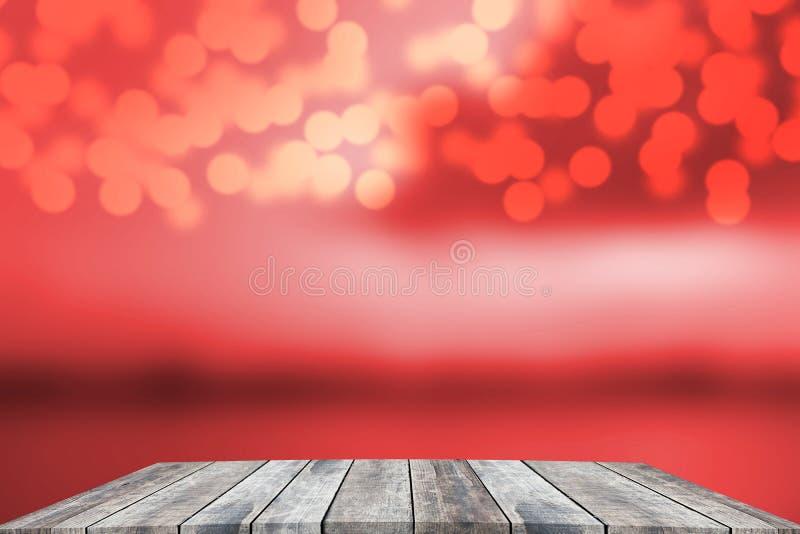 Altes Holz der Perspektive mit abstraktem bokeh Illustrations-Weihnachtshintergrund stockfotografie