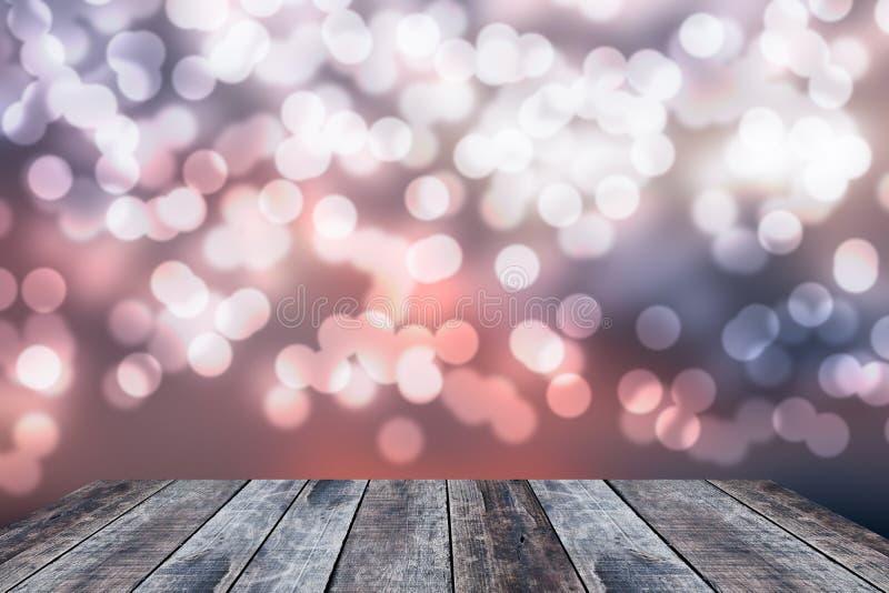 Altes Holz der Perspektive mit abstraktem bokeh Illustrationshintergrund lizenzfreie stockfotos