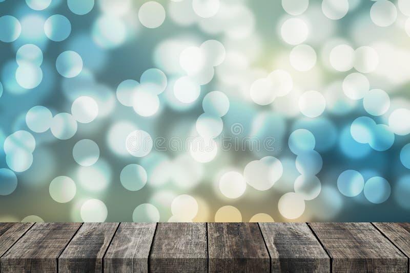 Altes Holz der Perspektive mit abstraktem bokeh Illustrationshintergrund lizenzfreie stockbilder