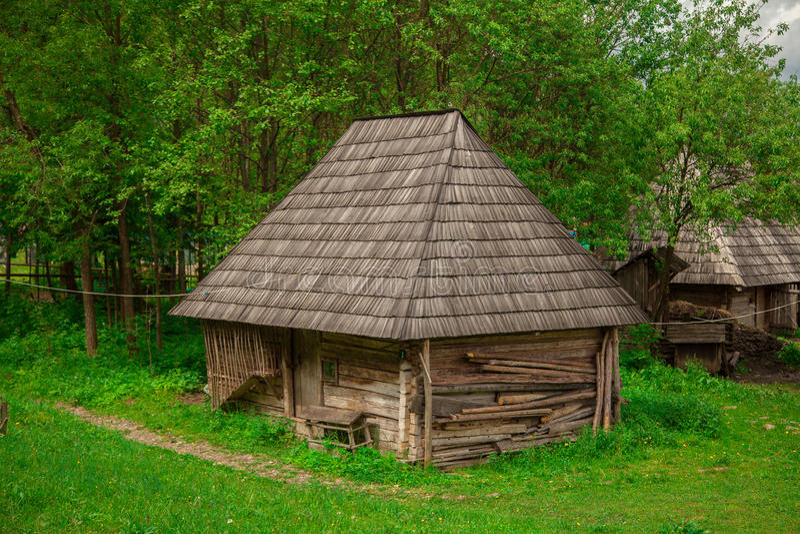 Altes Holzhaus im Wald stockbild