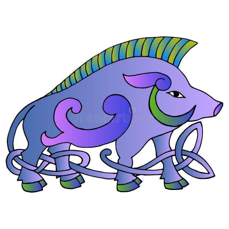 Altes irisches mythologisches Totem Wilder Eber mit keltischem Knoten VE lizenzfreie abbildung