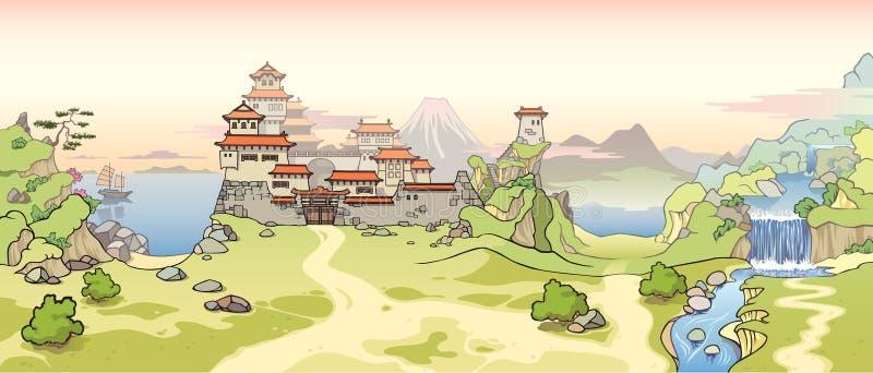 Altes japanisches Schloss lizenzfreie abbildung