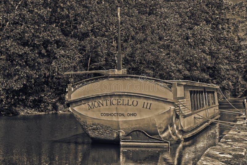 Altes Kanalboot in Ohio stockfoto