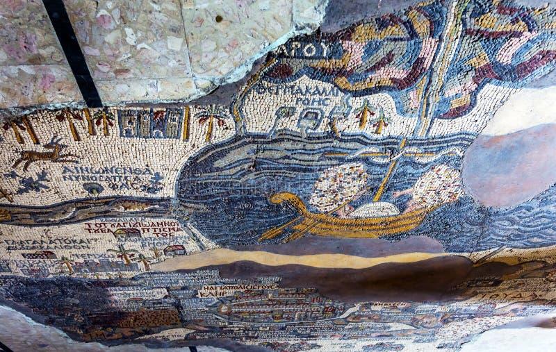Altes Karten-Mosaik-Heiliges George Church Madaba Jordan lizenzfreies stockfoto