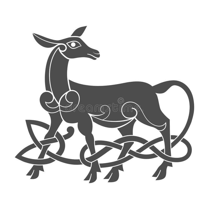Altes keltisches mythologisches Symbol der Damhirschkuh lizenzfreie abbildung