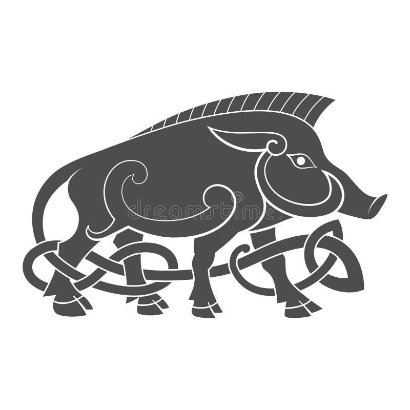 Altes keltisches mythologisches Symbol des Ebers stock abbildung