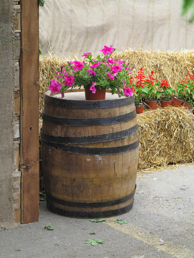 Altes klassisches hölzernes Fass mit Blumen und Heu - ländliche Ansicht lizenzfreie stockbilder