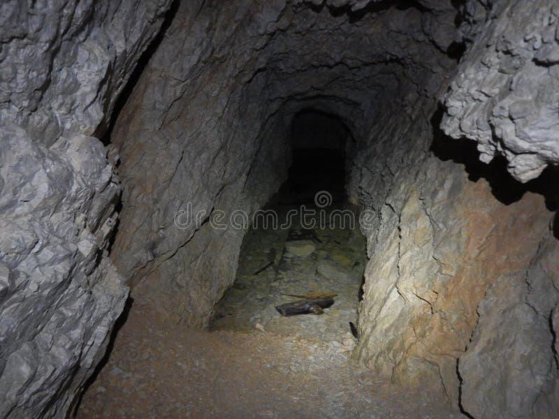 Altes Krieg tunel in Sass di Stria in den Dolomit stockbild