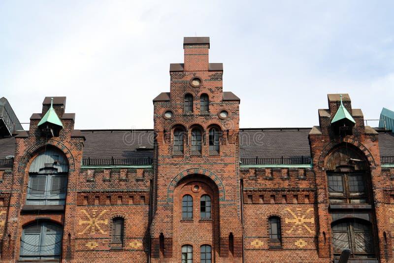 Altes Lager im Hamburg-Hafen lizenzfreie stockbilder