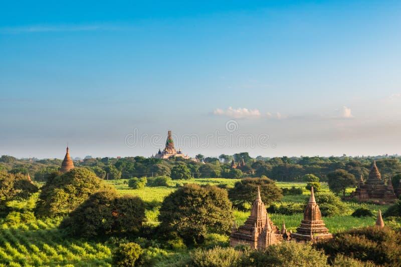 Altes Land von Bagan-Ansicht von der Spitze Shwesandaw-Pagode lizenzfreies stockfoto