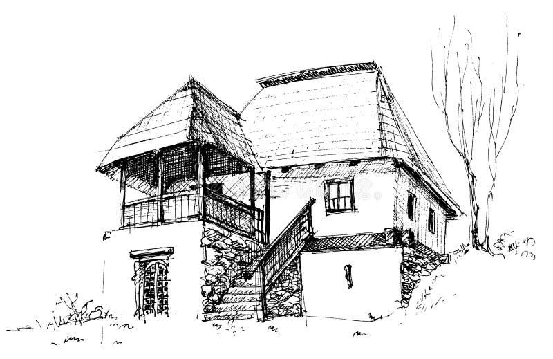 Altes landwirtschaftliches Haus lizenzfreie abbildung
