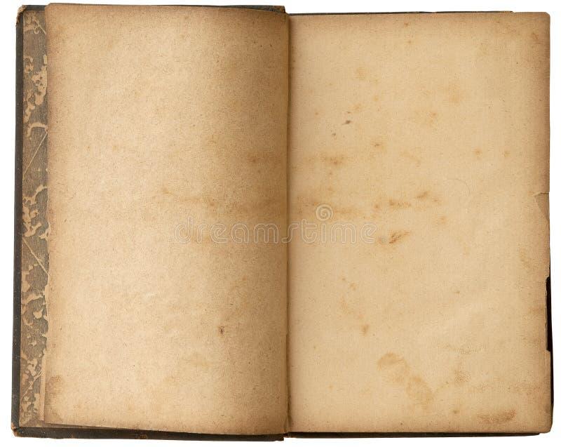 Altes Leerzeichen-geöffnetes Buch stockfotos