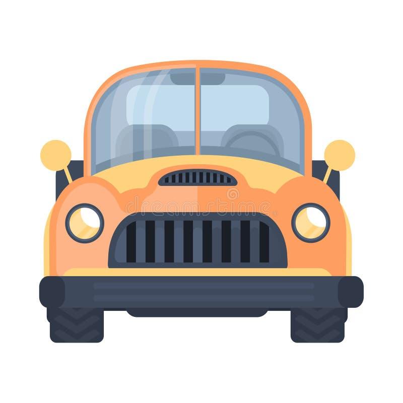 Altes LKW-Auto Retro- beheizter Stab Bauernhof heben LKW auf Vorderansicht Vektorillustration stock abbildung