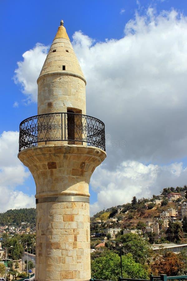 Altes Minarett in Safad, Israel lizenzfreie stockfotografie