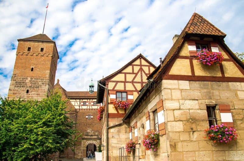 Altes mittelalterliches Schloss heidnischer Turm Kaiserburg, Nurnberg, Deutschland stockfoto
