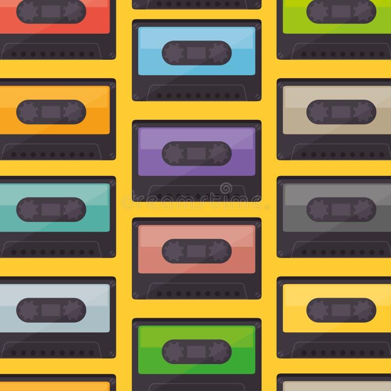 altes Muster der Kassettenmusik lizenzfreie abbildung