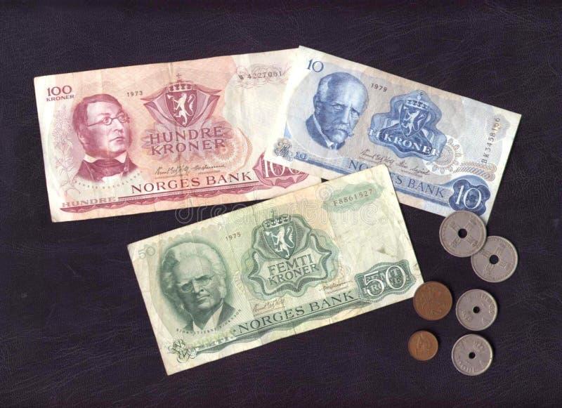 Altes norwegisches Geld stockbilder