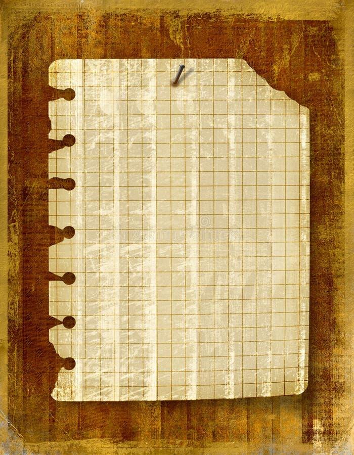 Altes Notizbuchblatt angebracht lizenzfreie abbildung