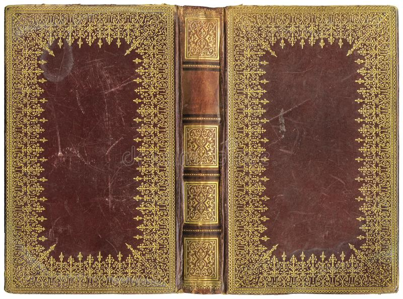 Altes offenes Buch - lederne Abdeckung - circa 1895 lizenzfreie stockfotos