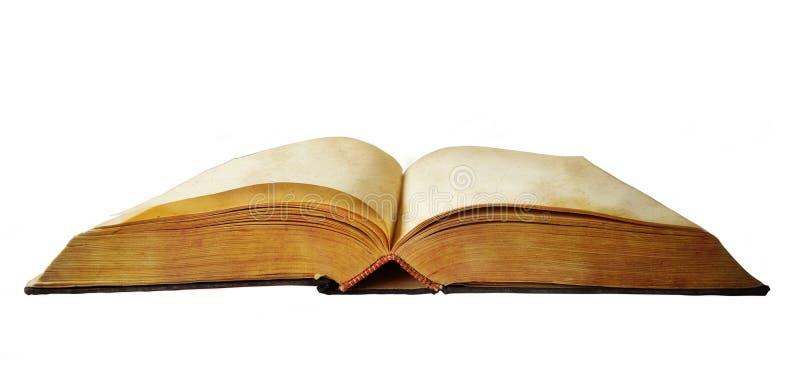 Altes offenes Buch mit leeren Seiten stockfotografie