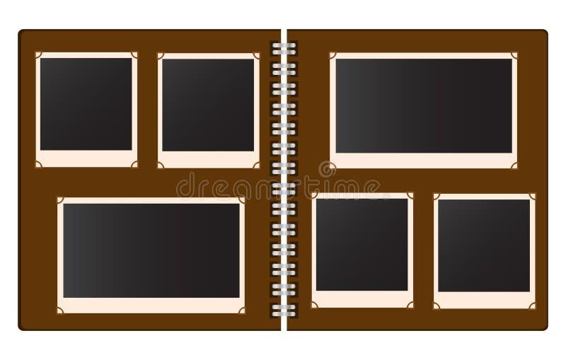 Altes offenes Fotoalbum mit leeren Fotos vector Illustration vektor abbildung